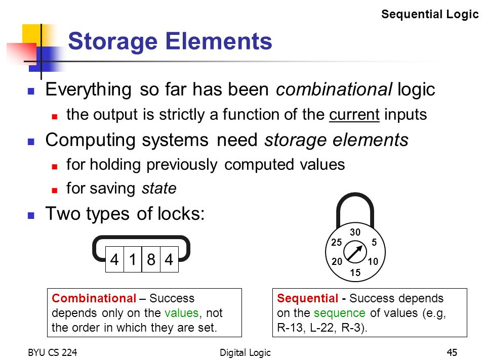 Storage Elements Everything so far has been combinational logic