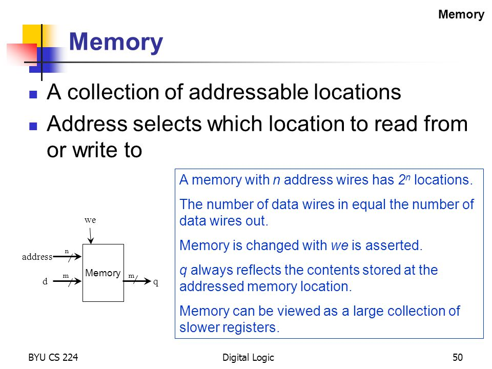 Memory A collection of addressable locations