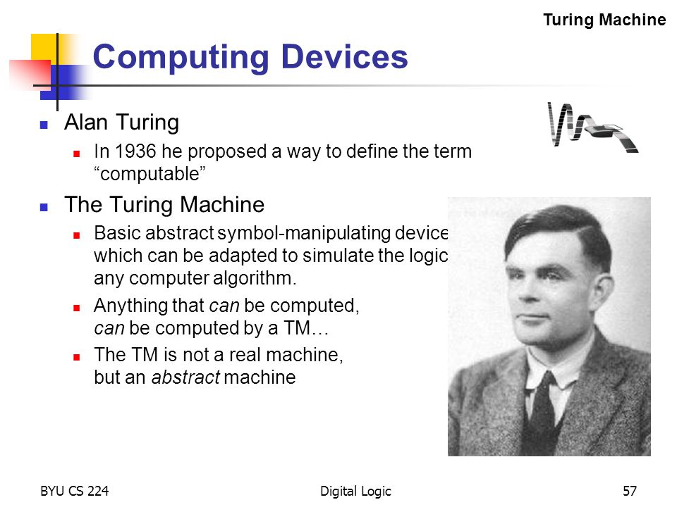 Computing Devices Alan Turing The Turing Machine