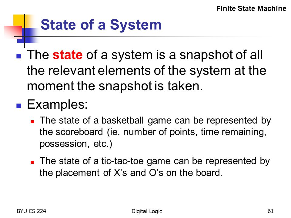 Finite State Machine State of a System.