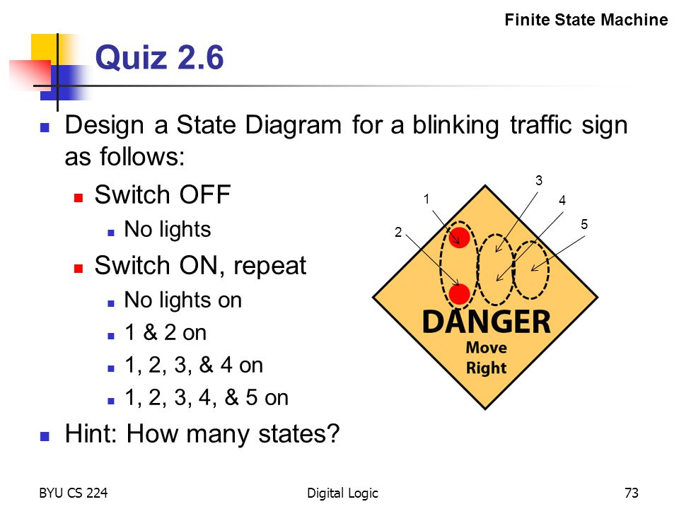 Finite State Machine Quiz 2.6. Design a State Diagram for a blinking traffic sign as follows: Switch OFF.