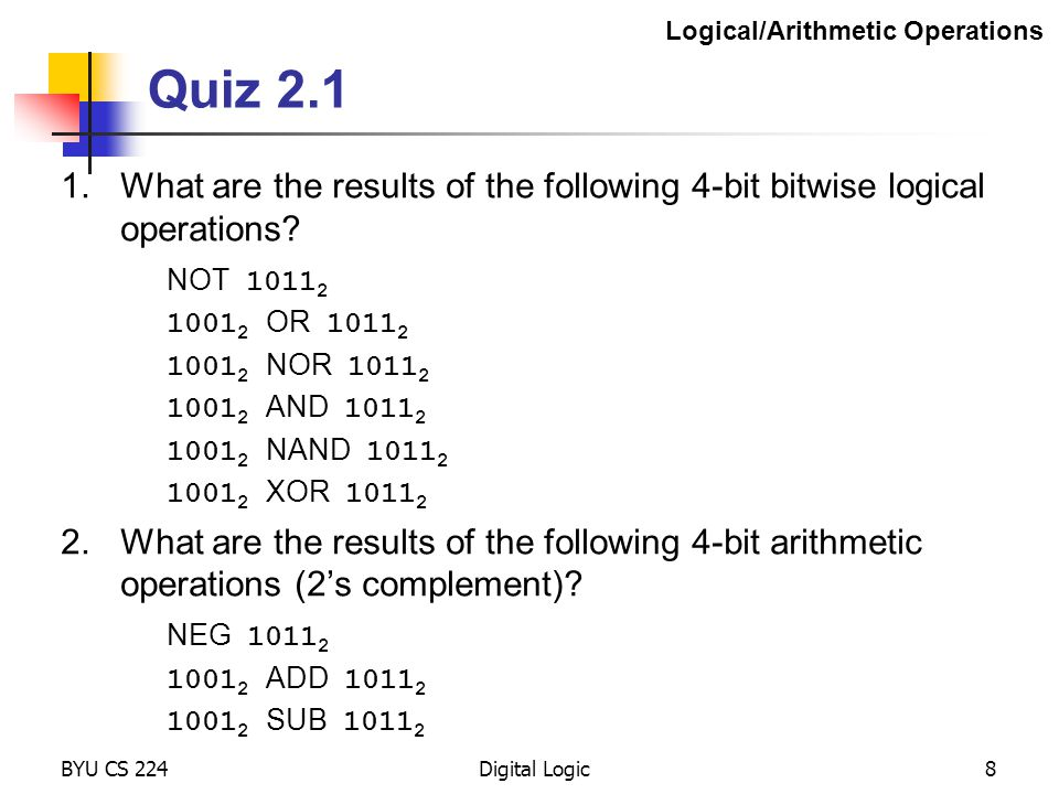 Logical/Arithmetic Operations