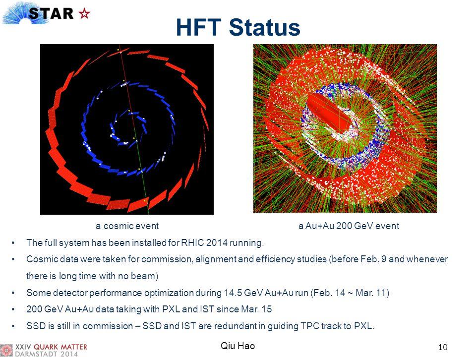 HFT Status a cosmic event a Au+Au 200 GeV event