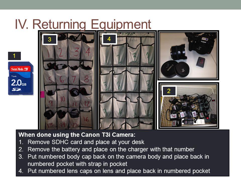 IV. Returning Equipment