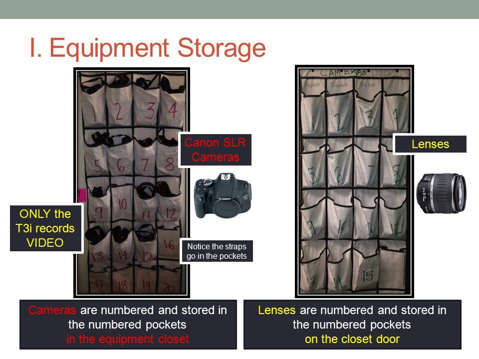I. Equipment Storage Canon SLR Cameras Lenses
