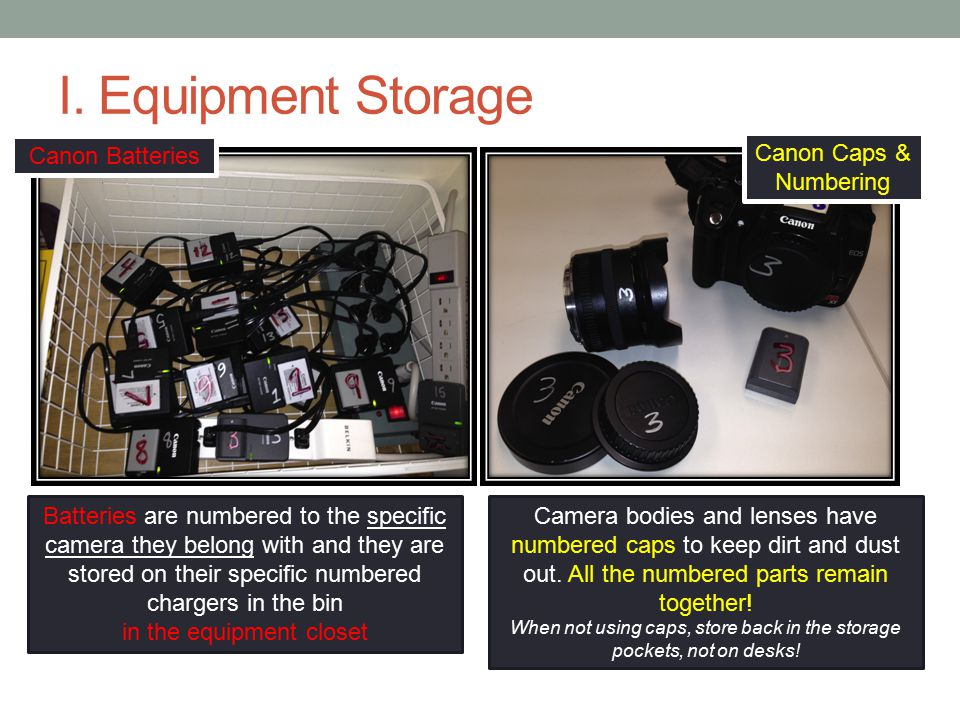 I. Equipment Storage Canon Batteries Canon Caps & Numbering