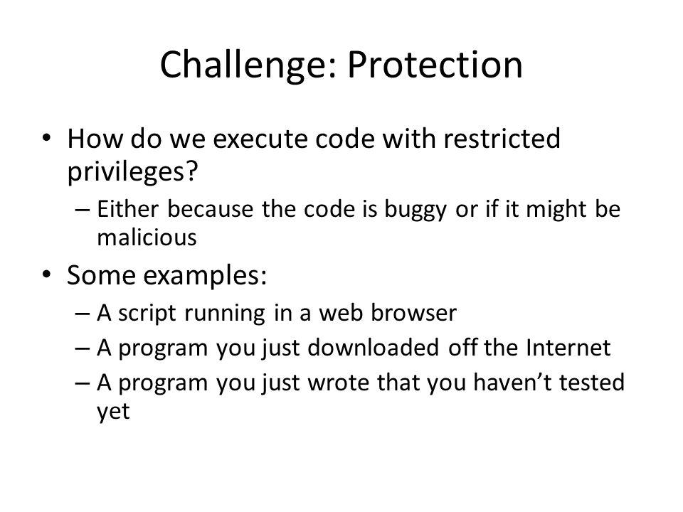 Challenge: Protection