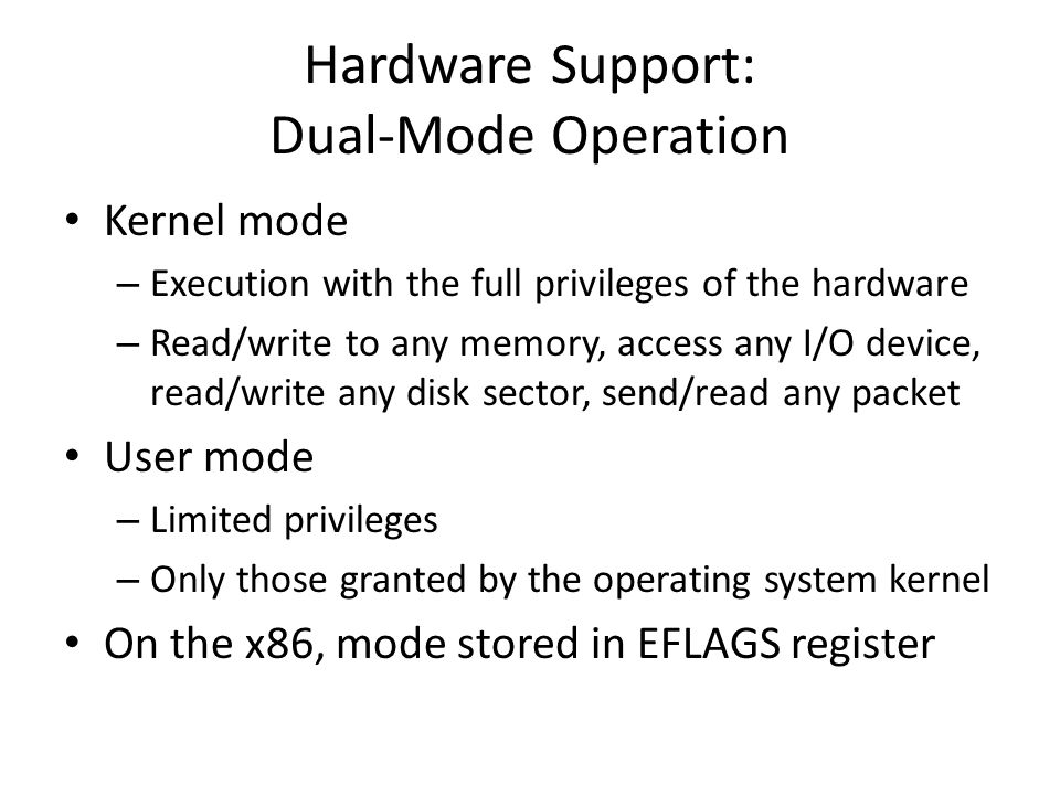 Hardware Support: Dual-Mode Operation