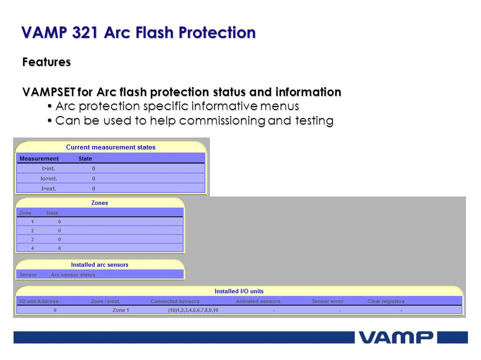 Features VAMPSET for Arc flash protection status and information. Arc protection specific informative menus.