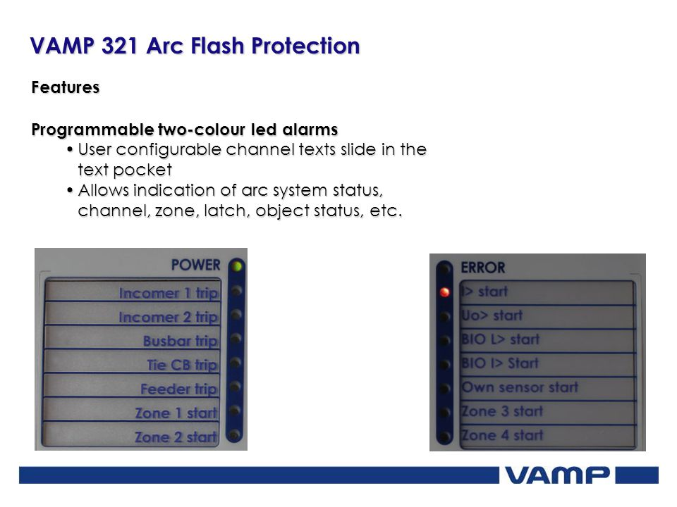 Features Programmable two-colour led alarms. User configurable channel texts slide in the text pocket.