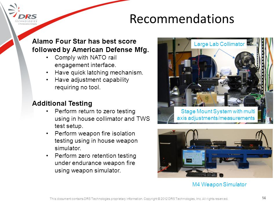 Recommendations Alamo Four Star has best score followed by American Defense Mfg. Comply with NATO rail engagement interface.