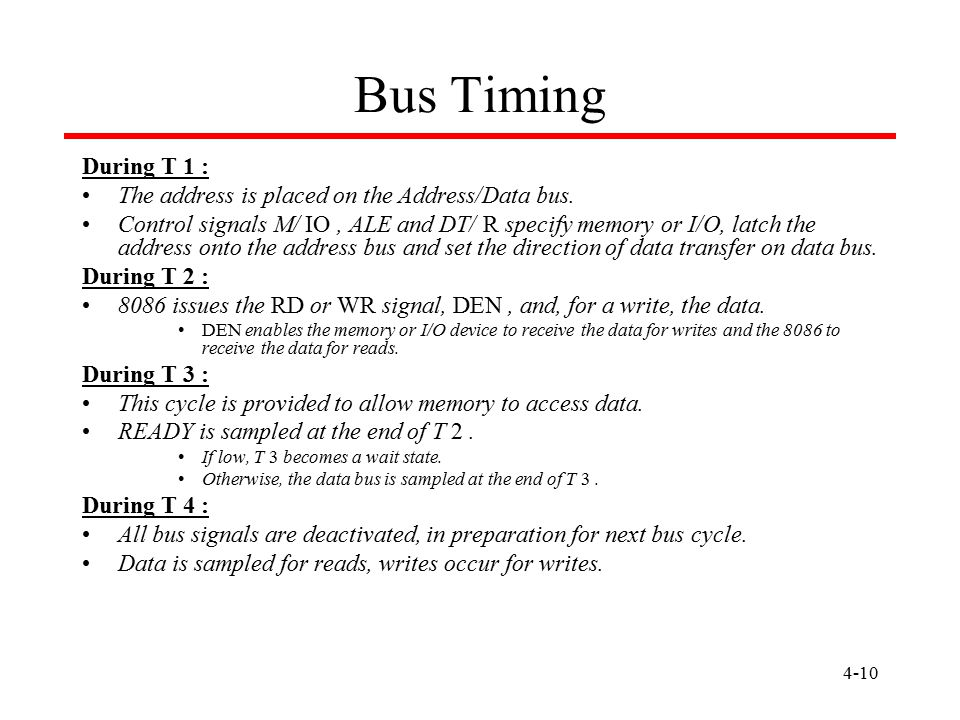 Bus Timing During T 1 : The address is placed on the Address/Data bus.