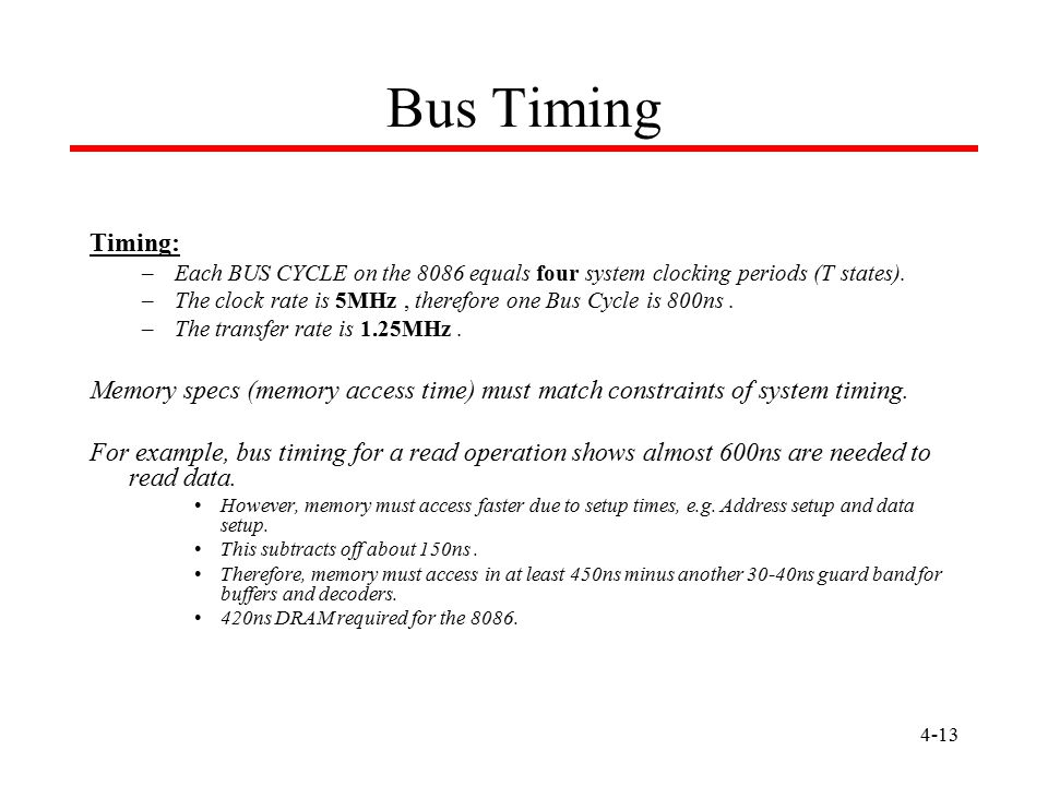Bus Timing Timing: Each BUS CYCLE on the 8086 equals four system clocking periods (T states).