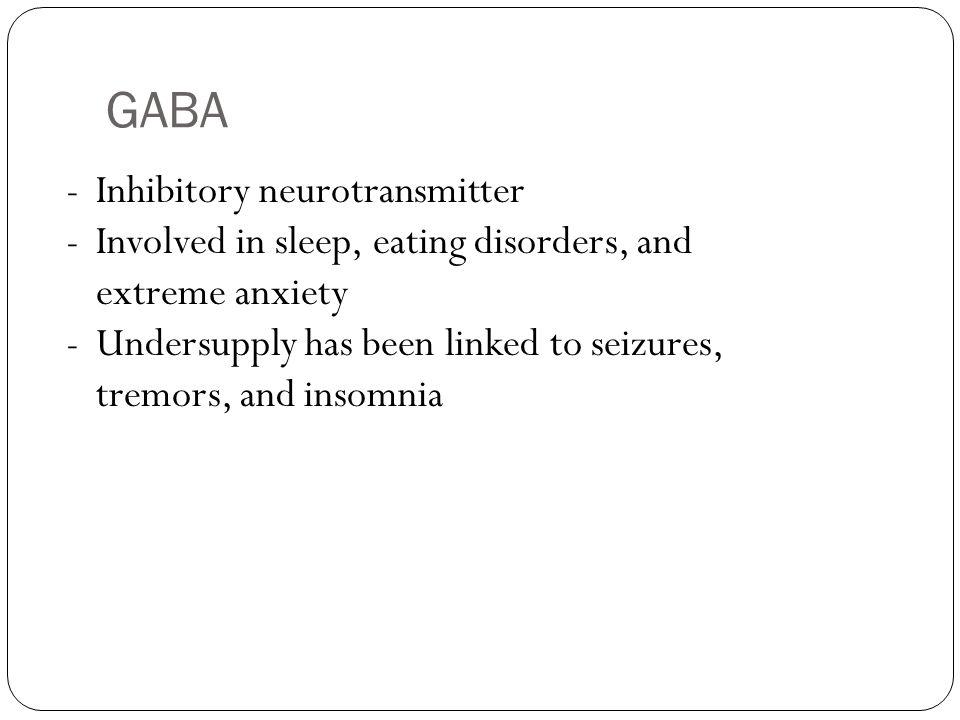 GABA Inhibitory neurotransmitter