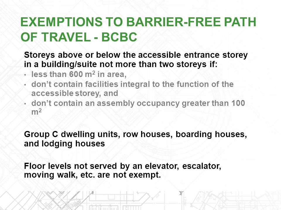EXEMPTIONS TO BARRIER-FREE PATH OF TRAVEL - BCBC
