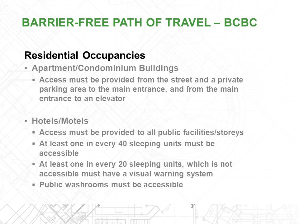 BARRIER-FREE PATH OF TRAVEL – BCBC
