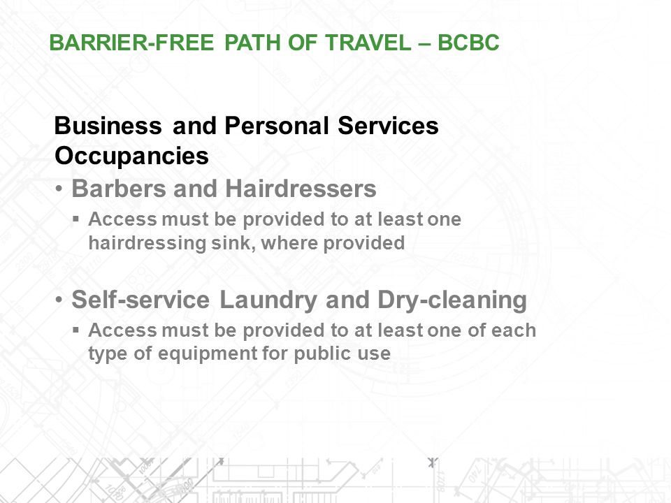 Business and Personal Services Occupancies Barbers and Hairdressers