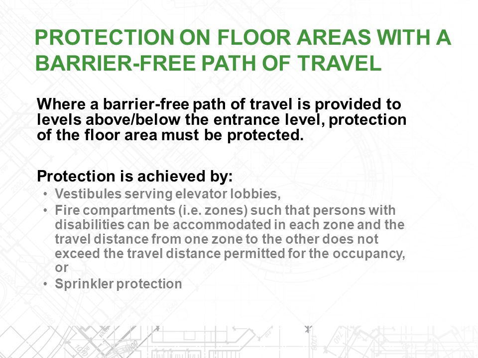 PROTECTION ON FLOOR AREAS WITH A BARRIER-FREE PATH OF TRAVEL