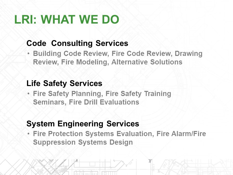 LRI: WHAT WE DO Code Consulting Services Life Safety Services