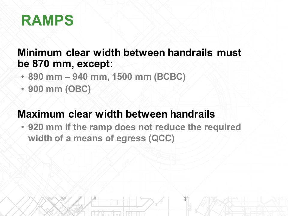 RAMPS Minimum clear width between handrails must be 870 mm, except: