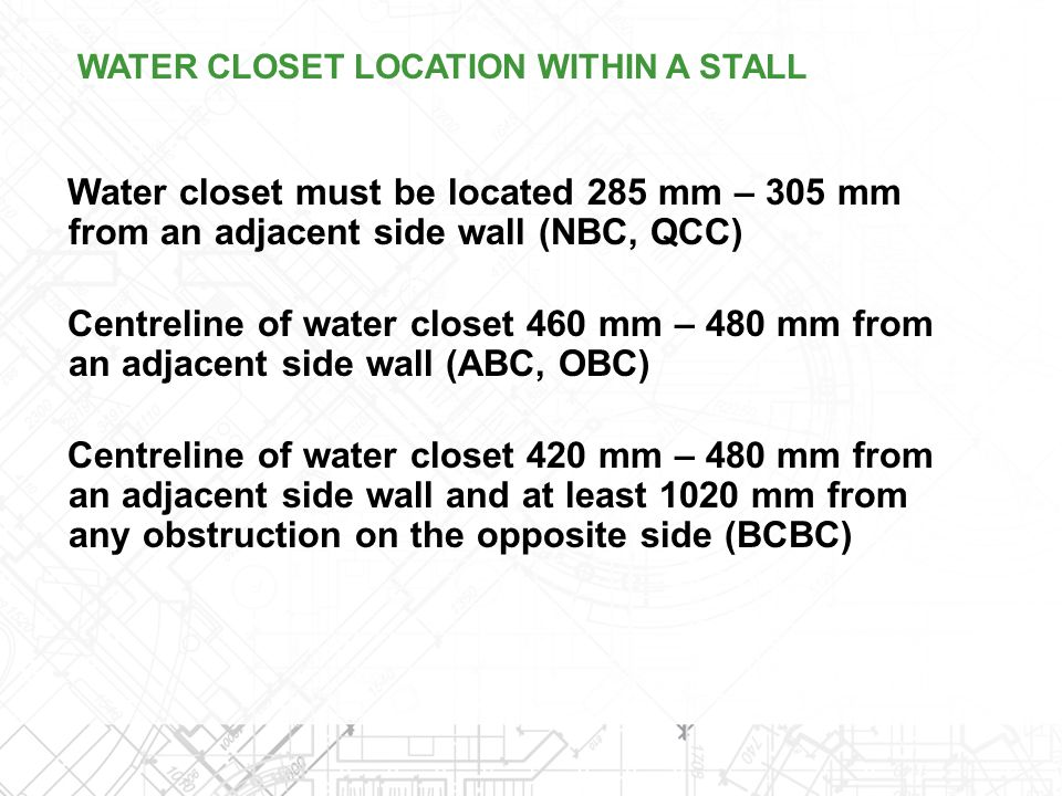 WATER CLOSET LOCATION WITHIN A STALL