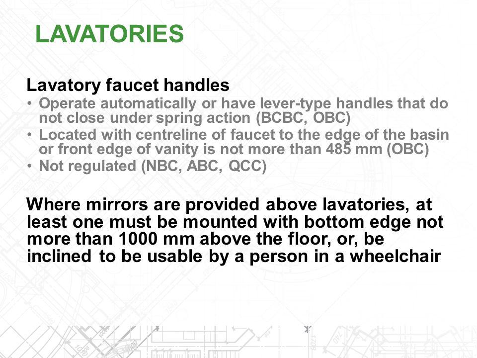 LAVATORIES Lavatory faucet handles
