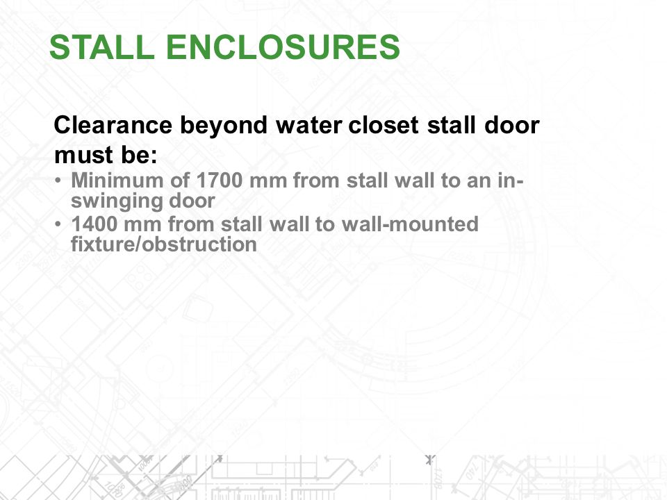 STALL ENCLOSURES Clearance beyond water closet stall door must be: