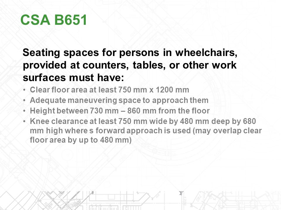 CSA B651 Seating spaces for persons in wheelchairs, provided at counters, tables, or other work surfaces must have: