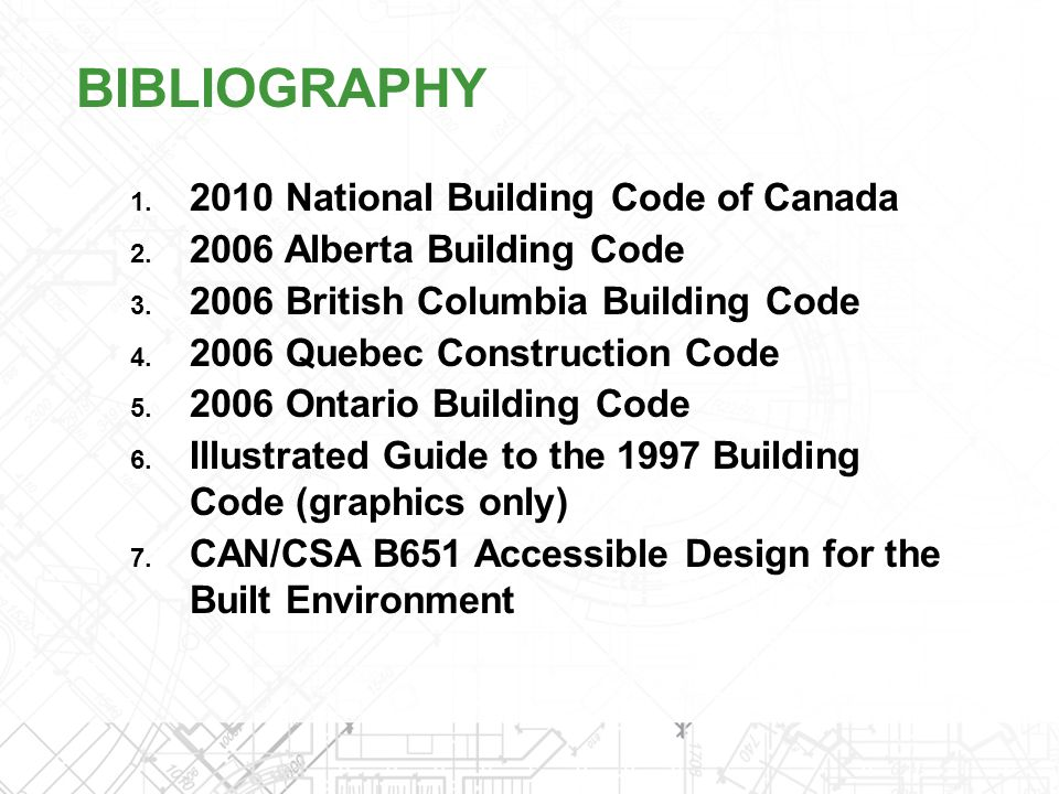 Bibliography 2010 National Building Code of Canada