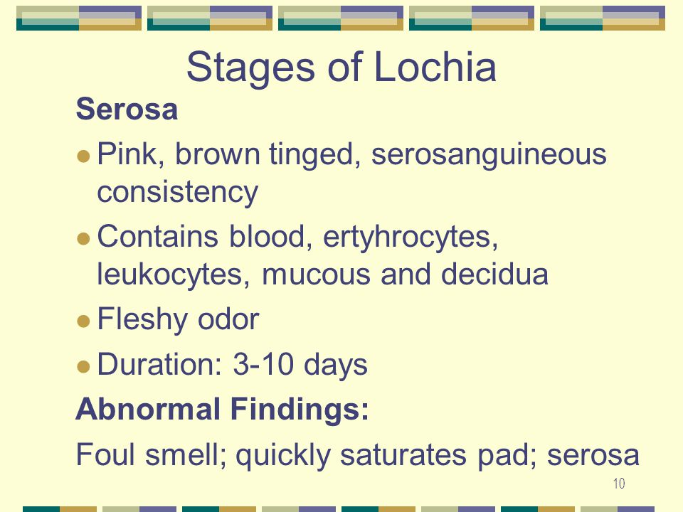 Stages of Lochia Serosa