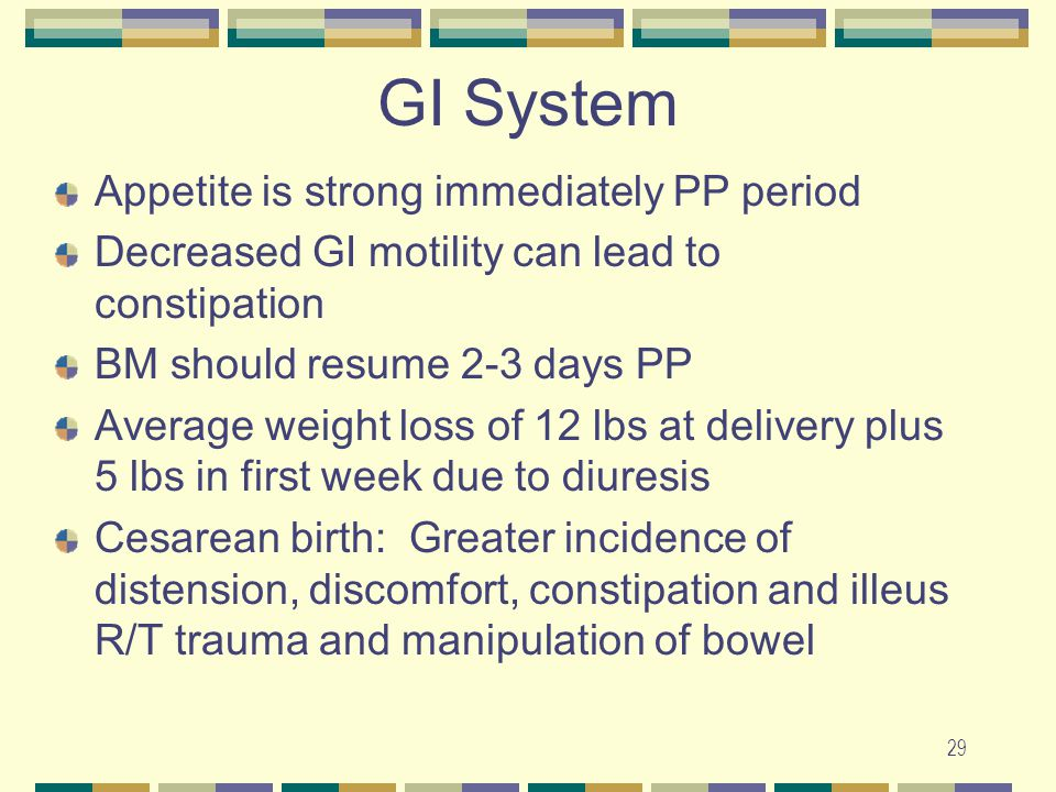 GI System Appetite is strong immediately PP period