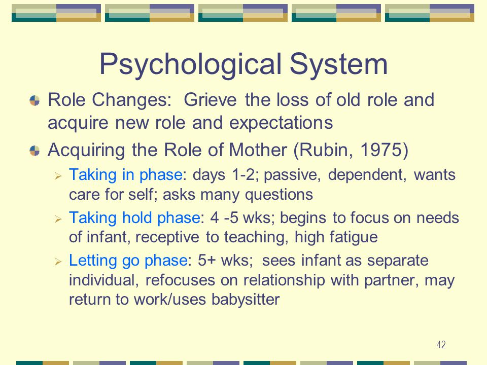 Psychological System Role Changes: Grieve the loss of old role and acquire new role and expectations.