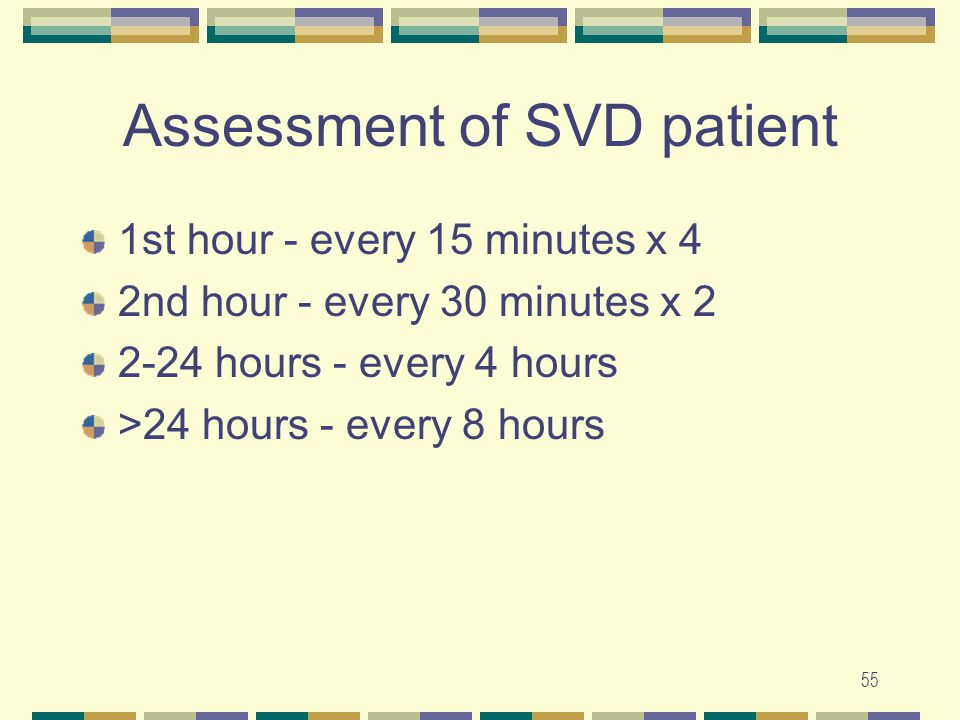 Assessment of SVD patient
