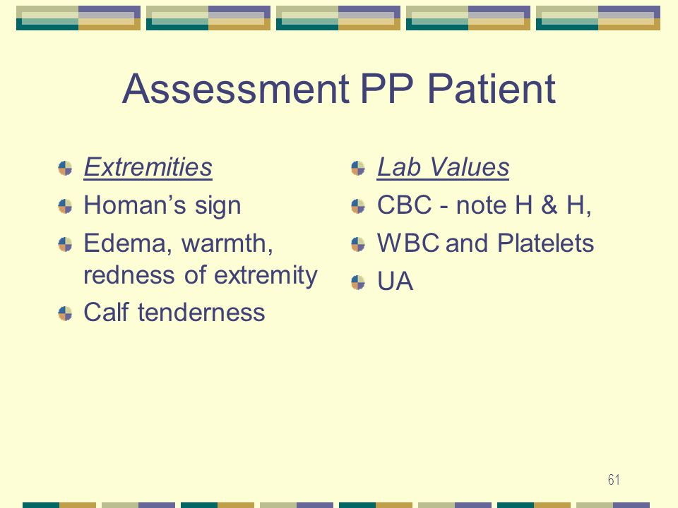 Assessment PP Patient Extremities Homan's sign