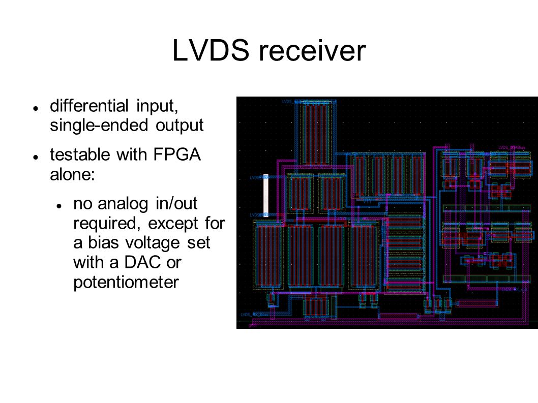 LVDS receiver differential input, single-ended output