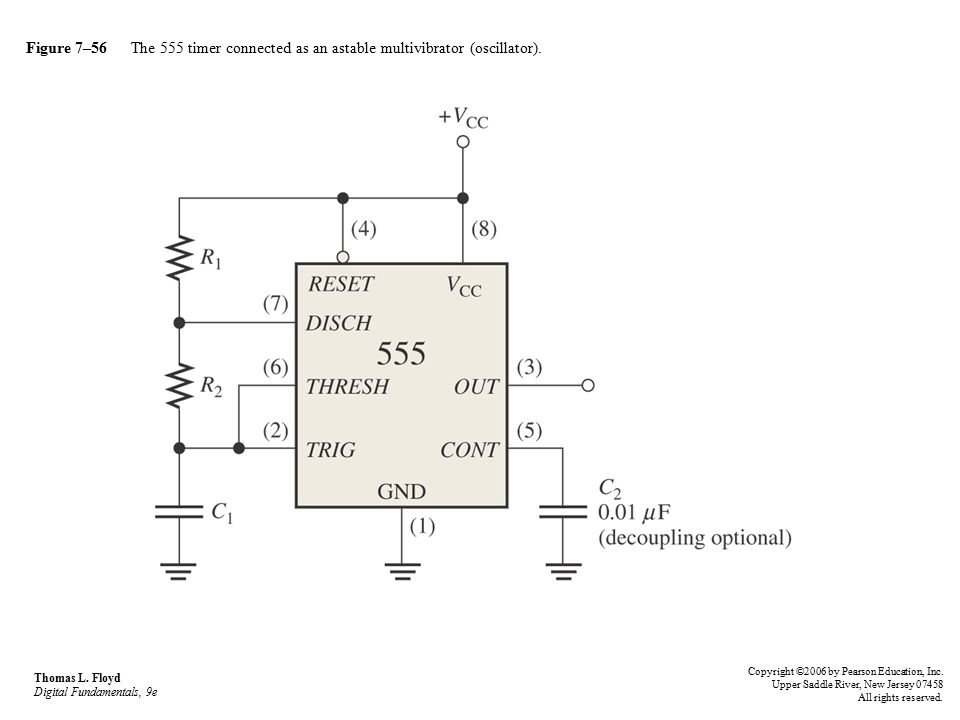 Figure 7–56 The 555 timer connected as an astable multivibrator (oscillator).