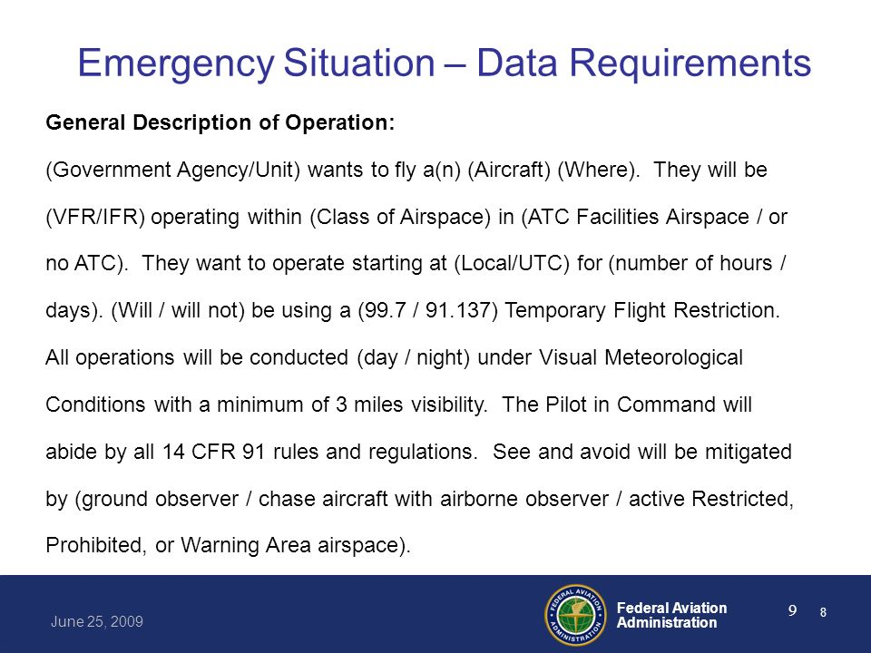 Emergency Situation – Data Requirements