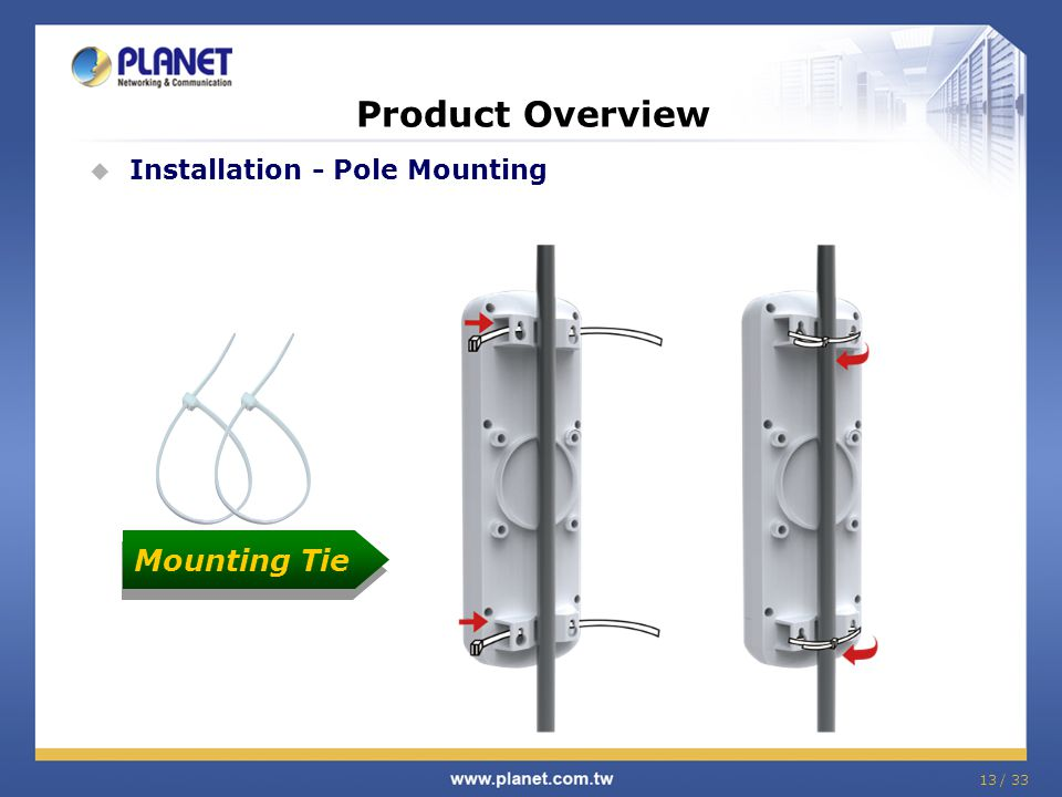 Product Overview Installation - Pole Mounting Mounting Tie 13 / 33