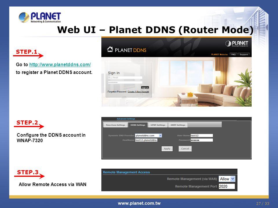 Web UI – Planet DDNS (Router Mode)