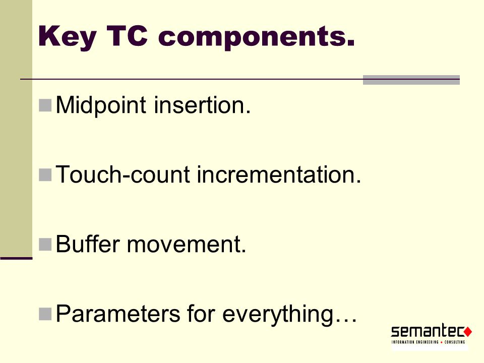 Key TC components. Midpoint insertion. Touch-count incrementation.