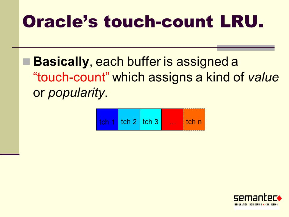 Oracle's touch-count LRU.