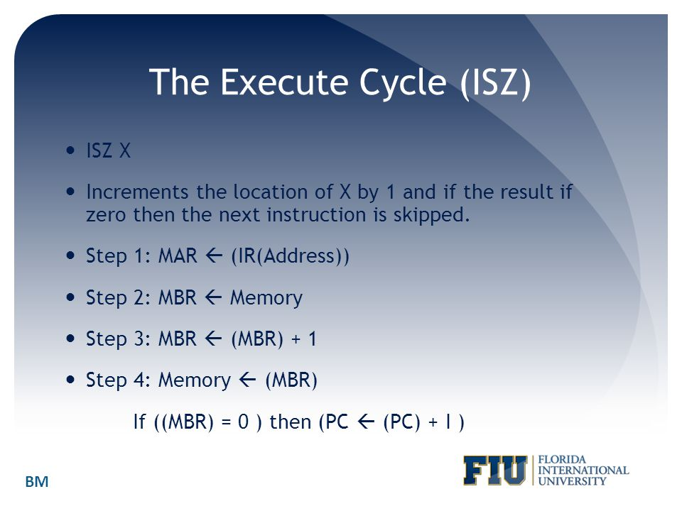 The Execute Cycle (ISZ)