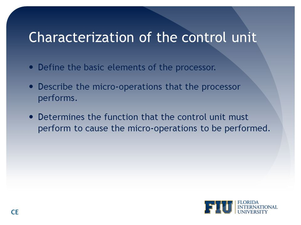 Characterization of the control unit