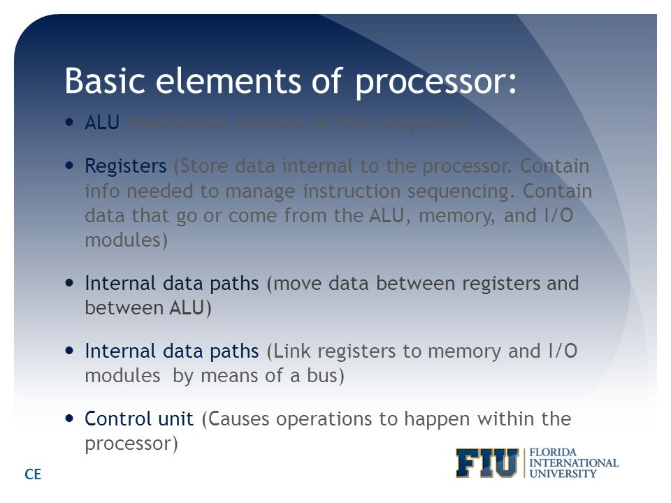 Basic elements of processor: