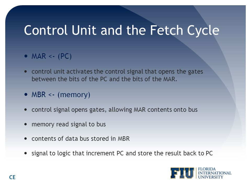 Control Unit and the Fetch Cycle