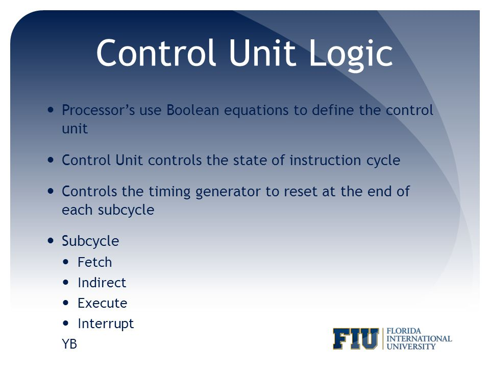 Control Unit Logic Processor's use Boolean equations to define the control unit. Control Unit controls the state of instruction cycle.