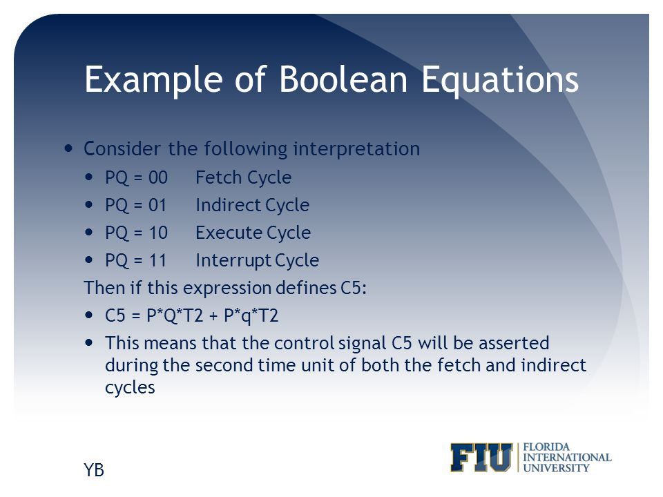 Example of Boolean Equations