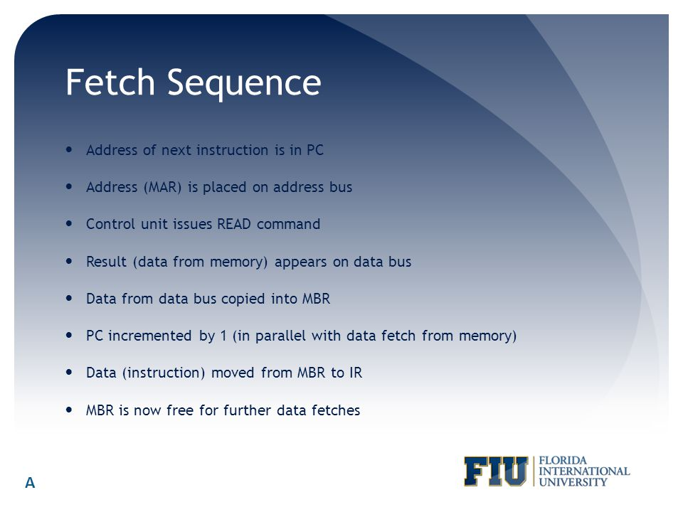 Fetch Sequence A Address of next instruction is in PC