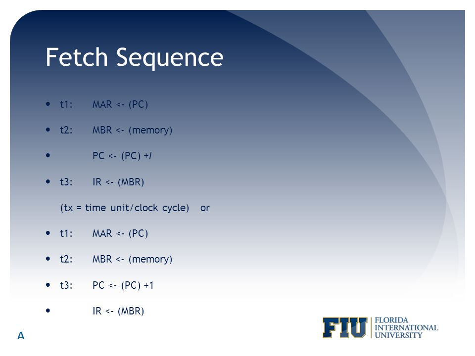 Fetch Sequence A t1: MAR <- (PC) t2: MBR <- (memory)