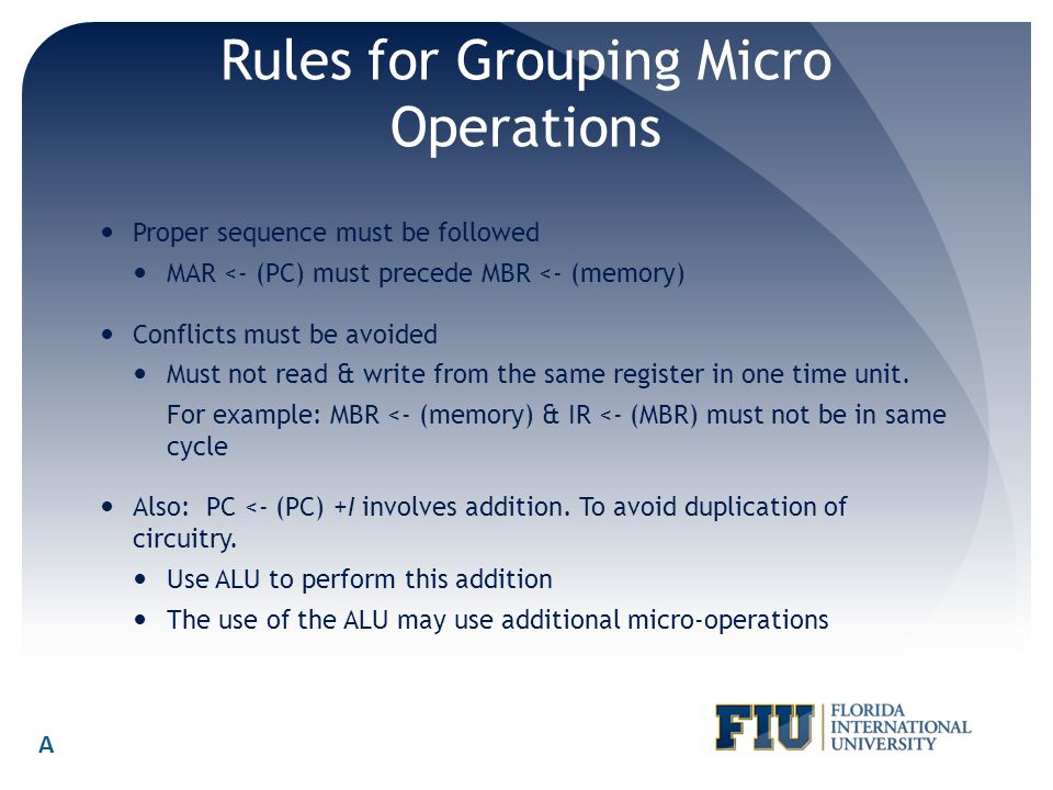 Rules for Grouping Micro Operations
